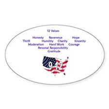 12 Values Oval Decal