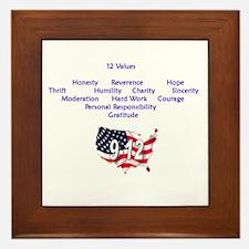 12 Values (9 Principles on re Framed Tile