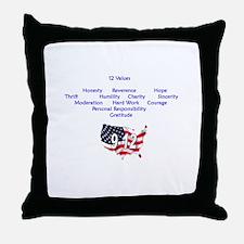 12 Values (9 Principles on re Throw Pillow