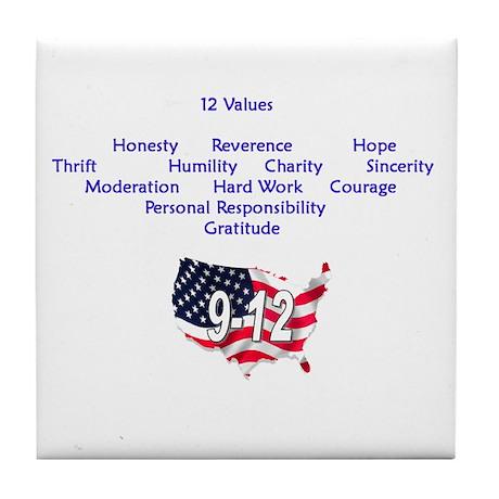 12 Values (9 Principles on re Tile Coaster