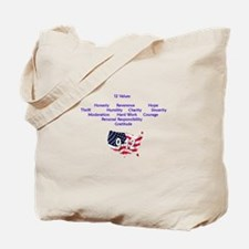 12 Values (9 Principles on re Tote Bag
