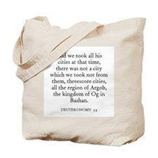 DEUTERONOMY  3:4 Tote Bag
