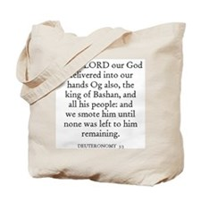 DEUTERONOMY  3:3 Tote Bag