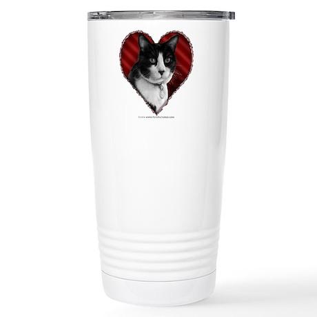 Tuxedo Cat Heart Stainless Steel Travel Mug
