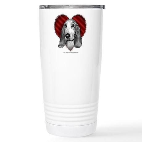 Basset Hound Valentine Stainless Steel Travel Mug