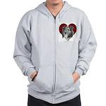 Sheltie Heart Zip Hoodie