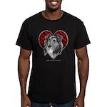 Sheltie Heart Men's Fitted T-Shirt (dark)