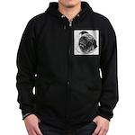 Pug Zip Hoodie (dark)