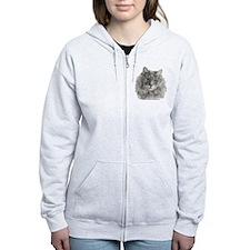 TG, Long-Haired Gray Cat Zip Hoodie