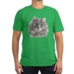 TG, Long-Haired Gray Cat Men's Fitted T-Shirt (dar
