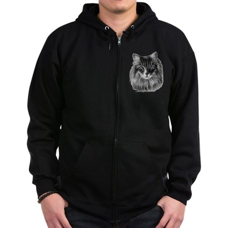 Long-Haired Gray Cat Zip Hoodie (dark)