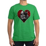Kitty Heart Men's Fitted T-Shirt (dark)