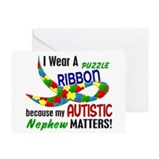 I Wear Puzzle Ribbon Nephew 33 Greeting Card