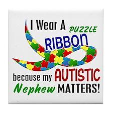 I Wear Puzzle Ribbon Nephew 33 Tile Coaster