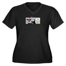 Cute What duck photo photography comic humor Women's Plus Size V-Neck Dark T-Shirt