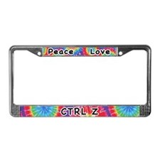 Peace Love Ctrl Z Undo License Plate Frame