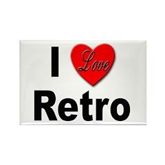 I Love Retro Rectangle Magnet