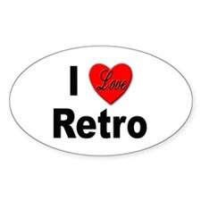 I Love Retro Oval Decal