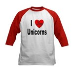 I Love Unicorns (Front) Kids Baseball Jersey