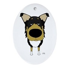 Big Nose Smooth Collie Oval Ornament