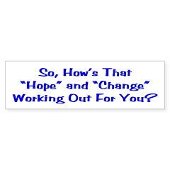 Hope and Change Bumper Sticker (50 pk)