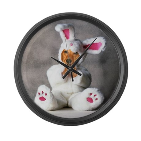 Easter Bunny Red Large Wall Clock