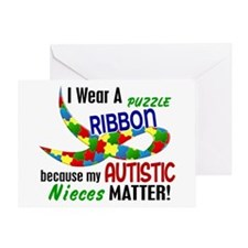 I Wear Puzzle Ribbon Nieces 33 Greeting Card
