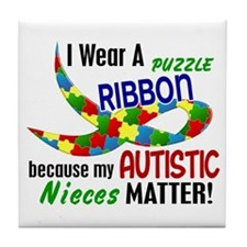 I Wear Puzzle Ribbon Nieces 33 Tile Coaster