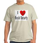 I Love Social Security (Front) Ash Grey T-Shirt