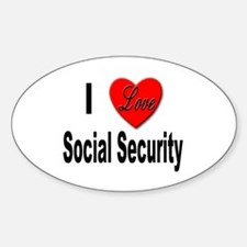 I Love Social Security Oval Decal