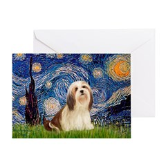 Starry / Lhasa Apso #4 Greeting Card