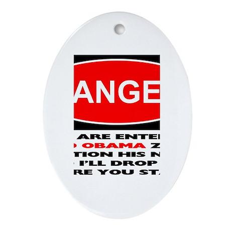No Obama Zone Oval Ornament