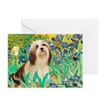 Irises / Lhasa Apso #4 Greeting Cards (Pk of 10)