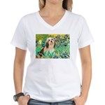 Irises / Lhasa Apso #4 Women's V-Neck T-Shirt
