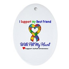 Autism ISupportMy Best Friend Oval Ornament