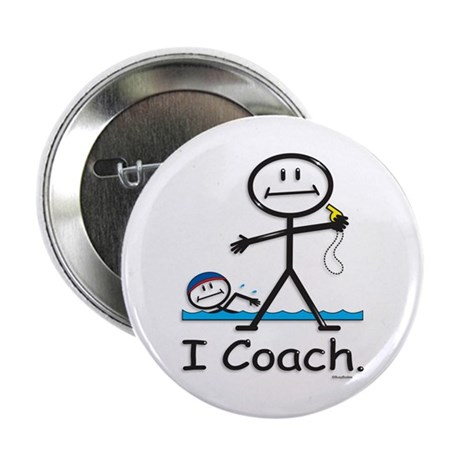 """Swimming Coach 2.25"""" Button (100 pack)"""