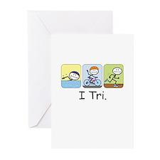 Triathlon Stick Figure Greeting Cards (Pk of 20)