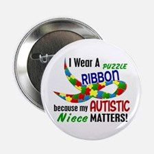 """I Wear Puzzle Ribbon Niece 33 2.25"""" Button (10 pac"""