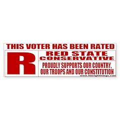 Rated R Red State Conservative Bumper Bumper Sticker