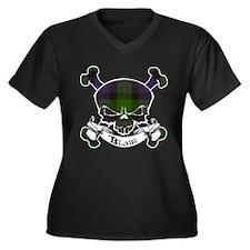 Blair Tartan Skull Women's Plus Size V-Neck Dark T