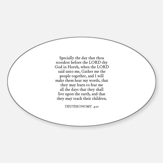 DEUTERONOMY 4:10 Oval Decal