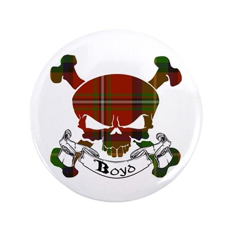"Boyd Tartan Skull 3.5"" Button"