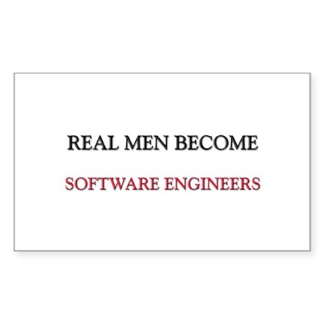 Real Men Become Software Engineers Sticker (Rectan