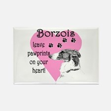 Borzoi Pawprints Heart Rectangle Magnet