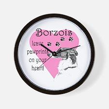Borzoi Pawprints Heart Wall Clock