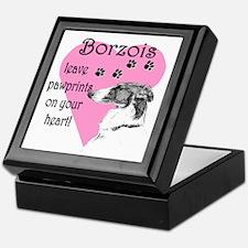 Borzoi Pawprints Heart Keepsake Box