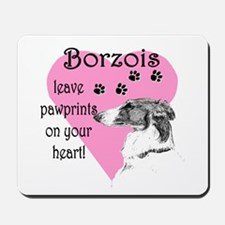 Borzoi Pawprints Heart Mousepad