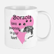 Borzoi Pawprints Heart Mug
