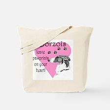Borzoi Pawprints Heart Tote Bag