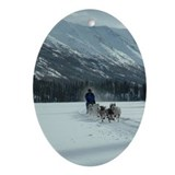 Dog sled Oval Ornaments